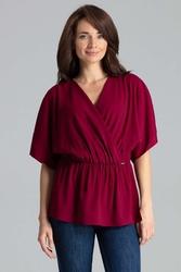 Bordowa bluzka o kroju kopertowym z gumką w talii