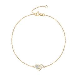 Staviori bransoleta 19cm serce. cyrkonia. żółte złoto 0,333.  długość regulowana 19cm lub 18cm.