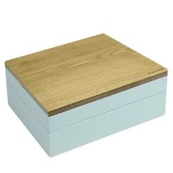 Pudełko na biżuterię podwójne classic wood błękitno-szare w grochy
