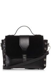 Czarna mała torebka listonoszka z nitami