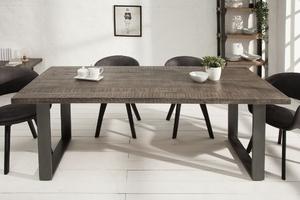 Industrialny stół iron craft z szarym blatem z drewna mango  90x200 cm, nogi stalowe antracytowe