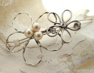 Dwa kwiaty - srebrna spinka do włosów