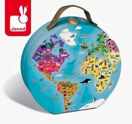 Puzzle w walizce dwustronne błękitna planeta 208 elementów