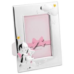 Różowa ramka na zdjęcie aniołek chmurki i gwiazdki grawer