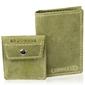 Skórzany zestaw portfel i bilonówka brodrene sw03 + cw02 zielony - oliwkowy