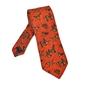 Pomarańczowy wełniany krawat ascot w psy i ptaki