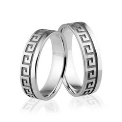 Obrączki srebrne z greckim wzorem - wzór Ag-334