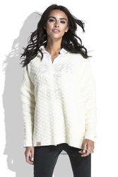 Ecru luźny sweter z dekoltem v