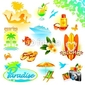 Naklejka samoprzylepna zestaw wypoczynkowy tropikalny, podróży i egzotyczne wakacje wektor