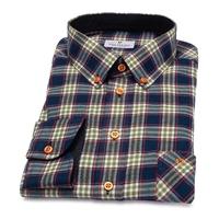 Koszula flanelowa męska w kolorową kratę z kołnierzykiem button down 36