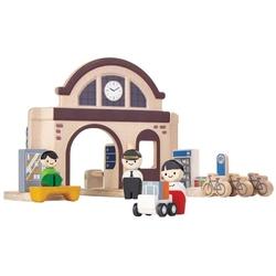 Stacja kolejowa zestaw drewnianych figurek