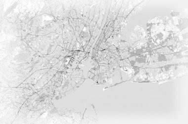 Nowy jork - mapa czarno-biała - fototapeta