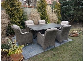 Zestaw mebli ogrodowych stół + 6 foteli kala ii brązowy technorattan