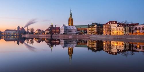 Ostrów tumski, wrocław - plakat premium wymiar do wyboru: 29,7x21 cm