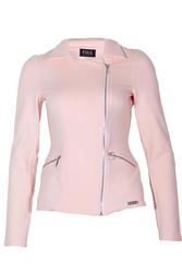 Dzianinowa kurtka ramoneska - różowa