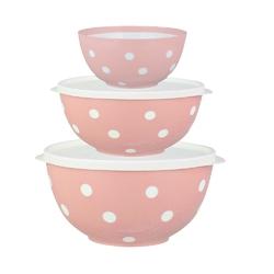 Salaterka  miska plastikowa dwukolorowa berossi różowa, komplet 3 salaterek 0,7 + 1,4 + 2,0 l