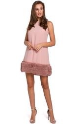 Wieczorowa sukienka mini z tiulem fason a różowa k038