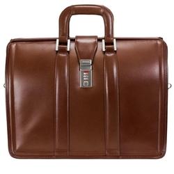 Skórzana teczka męska mcklein morgan 83344 na laptopa 17 brązowa - brązowy