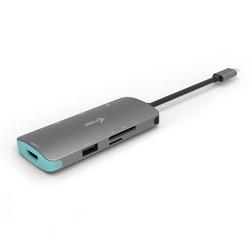 i-tec USB-C Metal Nano Stacja Dokująca 1x HDMI 4K Ultra HD 3840 x 2016 @ 30Hz 1x czytnik SD 1x  czytnik micro SD 3x USB 3.0 1x