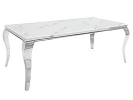 Modern barock elegancki stół do jadalni w stylu glamour ze szklanym blatem i srebrnymi nogami  200x105 cm