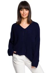 Asymetryczny luźny sweter damski granatowy bk026