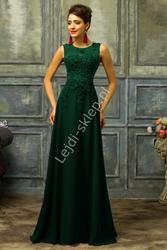 Zielona suknia z perłami | zielone długie butelkowa zieleń