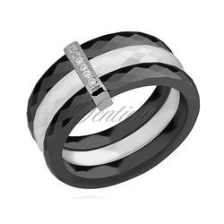 Potrójny pierścionek ceramiczny czarny i biały ze srebrnym pr. 925 elementem - prostokąt z cyrkoniami