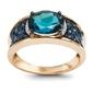 Staviori pierścionek 1 topaz błękitny, masa 2,24 ct.. 14 szafirów, masa 0,53 ct.. 10 diamentów, masa 0,02 ct., barwa h, czystość i1-i2. żółte złoto 0,585.