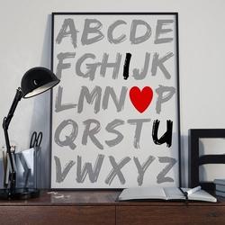 Alfabet i love u - plakat typograficzny , wymiary - 60cm x 90cm, ramka - biała
