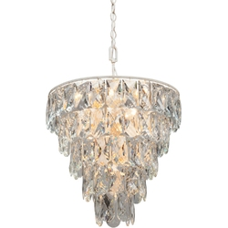 Lampa wisząca z dużych kryształów, biało-złota vitaluce ve5263-020+1