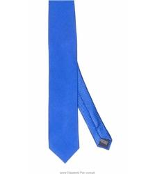 Niebieski Krawat jedwabny w skośne prążki, wąski 6,5cm