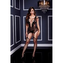 Sexshop - mocno wycięte bodystocking z pończochami - baci corset front suspender fishnet  - online