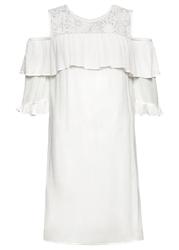 Sukienka cold-shoulder bonprix biel wełny
