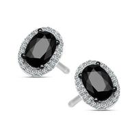 Staviori kolczyki. 44 diamenty, szlif brylantowy, masa 0,08 ct., barwa h, czystość si1-i1. 2 szafiry, masa 1,14 ct.. białe złoto 0,585. wysokość 8 mm. szerokość 6 mm.