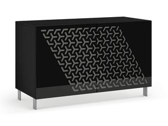 Nowoczesna komoda calisia czarno-szara z motywem geometrycznym  szer. 120 cm