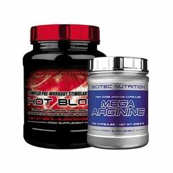 Scitec Hot Blood 3.0 8 + Mega Arginine 140 caps Booster Azotu Przedtreningówka AAKG Gratisy