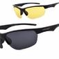 Sportowe okulary z dwoma soczewkami polaryzacyjnymi czarna i żółta - drs-53c3