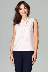 Różowa szykowna bluzka bez rękawów z wiązaniem przy dekolcie