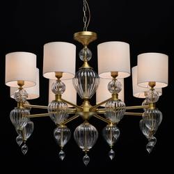 Żyrandol duży, kolor mosiądz, białe klosze, szklane ozdoby odelia chiaro classic 619011408