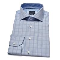 Elegancka błękitna koszula profuomo w niebieską krateczkę 39
