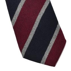 Wełniany krawat van thorn w granatowe i bordowe pasy