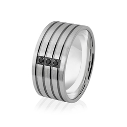 Obrączka srebrna męska z czarnymi cyrkoniami - wzór ag-382