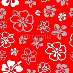 Board z aluminiowym obramowaniem Kwadraty bezszwowe kwiatki w kolorze białym i czerwonym