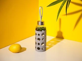 Bidon  butelka na wodę szklana w silikonowej osłonie altom design 425 ml szara