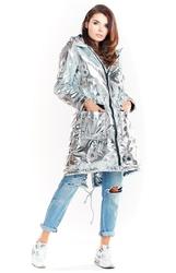 Srebrna pikowana kurtka typu parka z połyskiem
