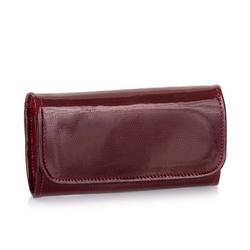 Skórzany portfel damski lakierowany brodrene a-14 czerwony - czerwony