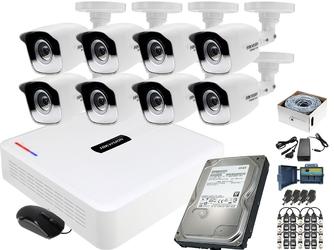 Monitoring po skrętce hikvision hiwatch 8x kamera rejestrator zestaw hd