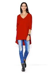 Czerwona kimonowa bluza w serek z wydłużonym tyłem