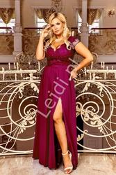 Bordowa długa suknia wieczorowa plus size - chantell