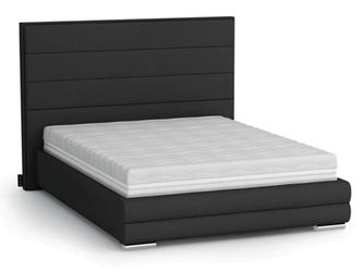 Eleganckie łóżko tapicerowane do sypialni urbano z poziomymi przeszyciami na zagłówku
